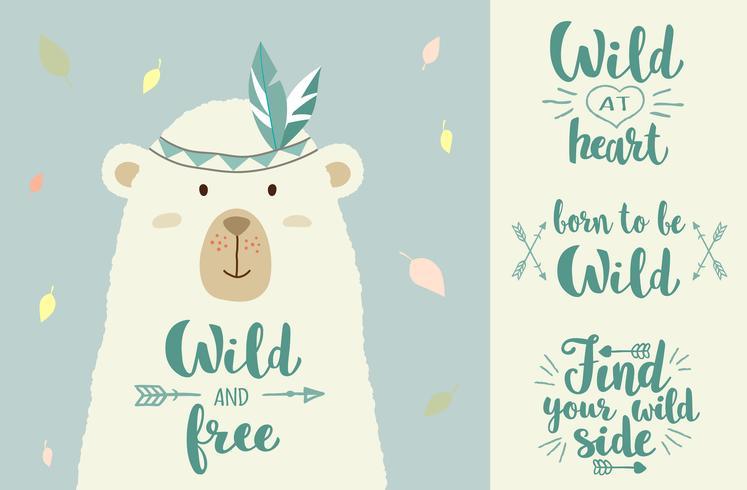 Illustration vectorielle d'ours mignon de bande dessinée avec des éléments de conception tribal et des phrases écrites à la main pour des pancartes, des impressions de t-shirt, des cartes de voeux.