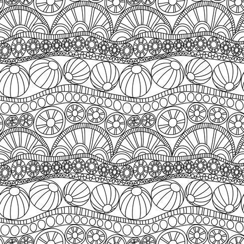 Doodle Ornamento Sem Costura Abstrata Pagina Para Colorir Enfeite