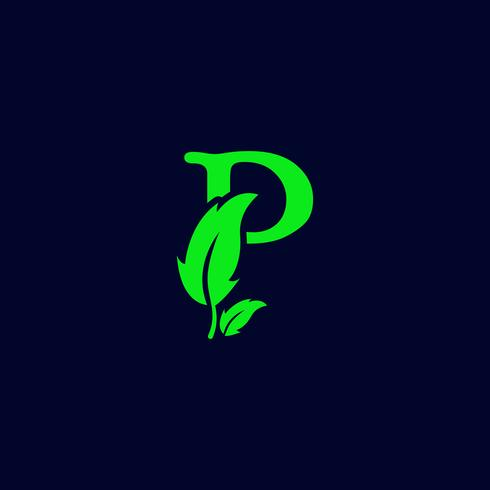 letter p leaf nature, eco green logo template vector isolated