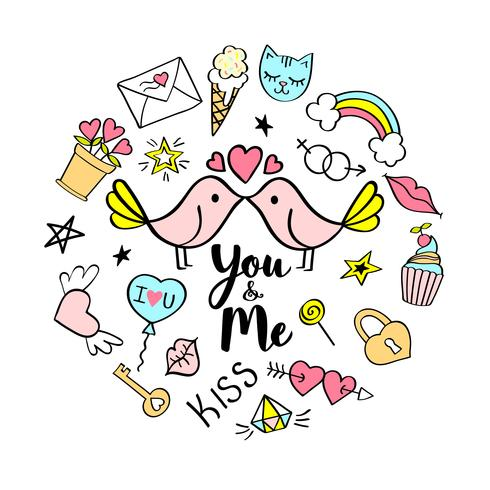You and Me lettering with girly doodles for valentines day card design, girl's t-shirt print, posters. Hand drawn fancy comic slogan in cartoon style. vector