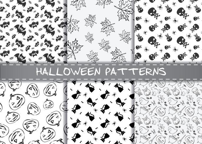 Set of halloween vector patterns. Endless monochrome halloween textures.