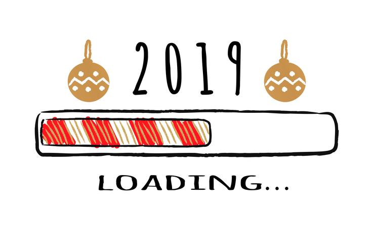 Fortschrittsbalken mit Laden der Aufschrift 2019 und Weihnachtsbirnen in der flüchtigen Art. Abbildung des vektorneuen Jahres für Shirtauslegung-, -plakat-, -gruß- oder -einladungskarte. vektor