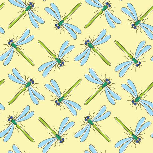 Nahtloses Muster des Libellenvektors für Textildesign, Tapete, Packpapier