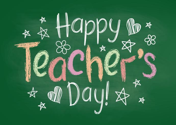 Tarjeta o cartel feliz de felicitación del día de los profesores en el tablero de tiza verde en estilo incompleto con las estrellas y los corazones handdrawn. vector