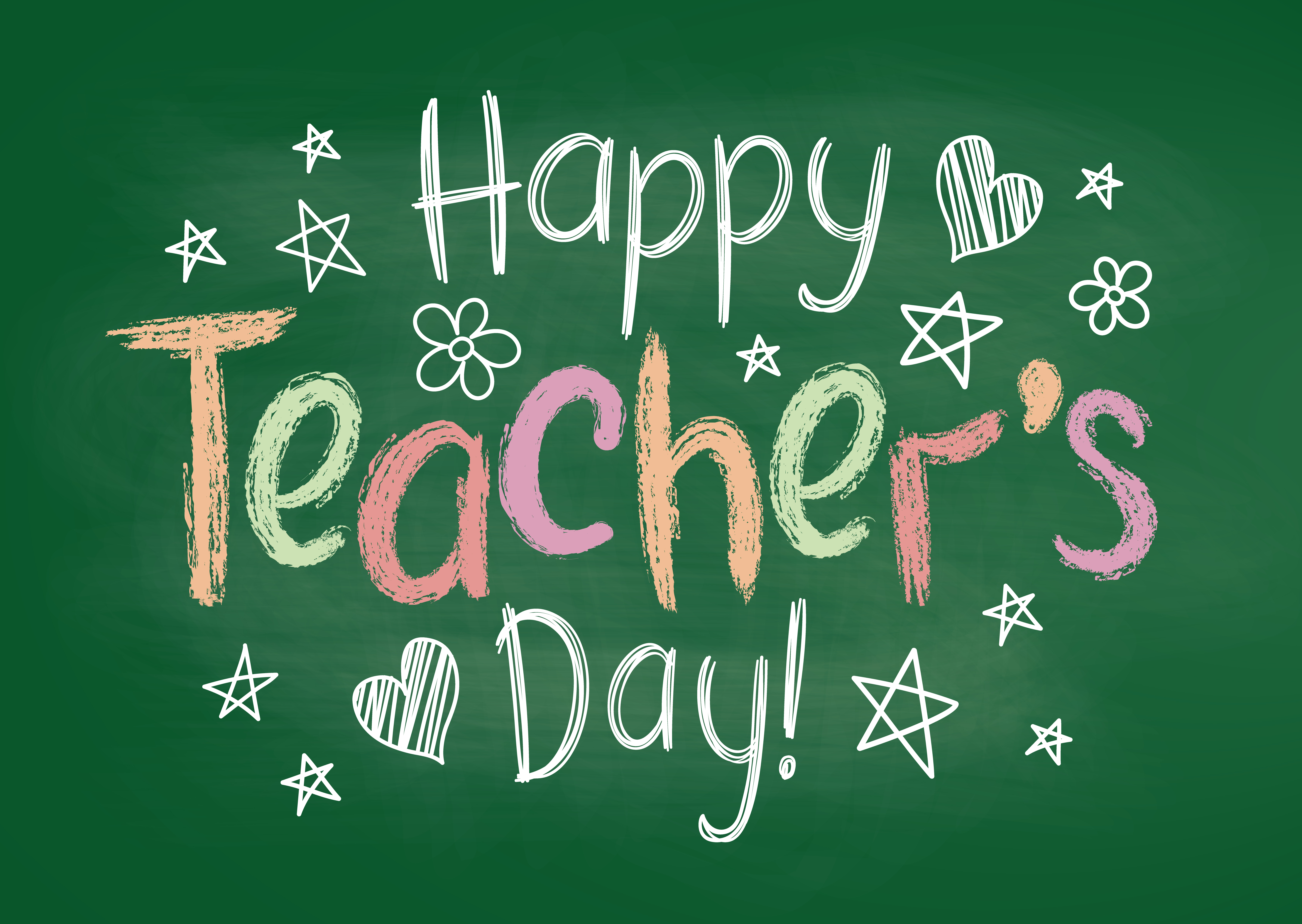 happy teachers day greeting card or placard on green chalk