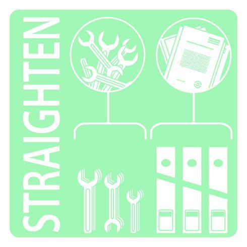 Straighten. 5s methodology vector