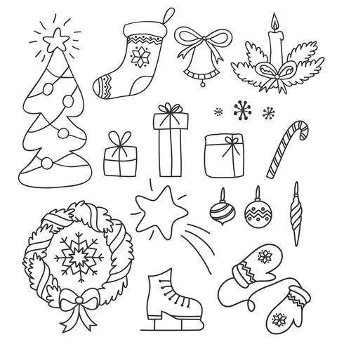 Conjunto de Navidad de garabatos dibujados a mano en estilo simple. Vector ilustración contorno