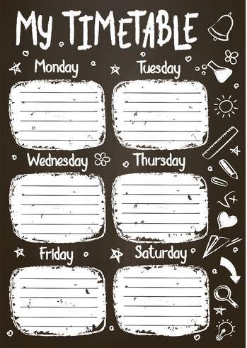 School timetable template on chalk board  with hand written chalk text. Weekly lessons shedule in sketchy style decorated with hand drawn school doodles on blackbord. vector