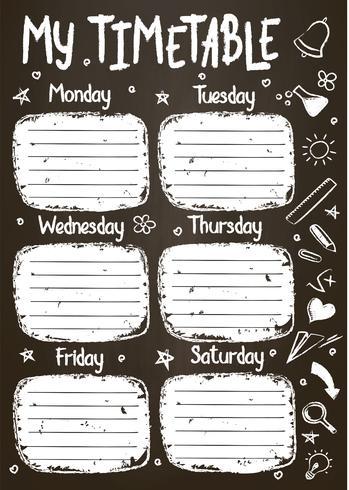Schulzeitplanvorlage auf Kreidetafel mit handgeschriebenem Kreidetext. Wöchentlicher Stundenplan im skizzenhaften Stil, dekoriert mit handgezeichneten Schulgekritzeln an der Tafel.