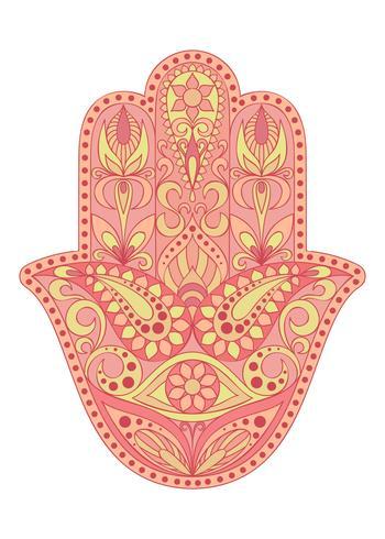 Simbolo Hamsa disegnato a mano. Mano di Fatima. Amuleto etnico comune nelle culture indiane, arabe ed ebraiche. Simbolo colorato Hamsa con ornamento floreale orientale. vettore