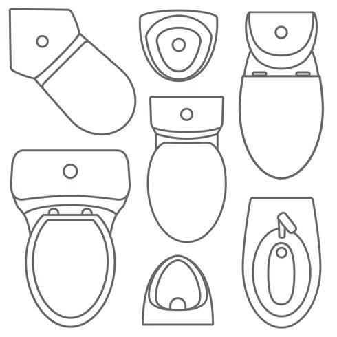 Bovenaanzicht van toiletuitrusting collectie voor interieurontwerp. Vector contour illustratie. Set van verschillende soorten toilettypen.