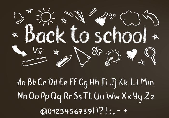 Retour au texte de craie scolaire sur tableau noir avec éléments de griffonnage et alphabet craie, chiffres et signes de ponctuation.