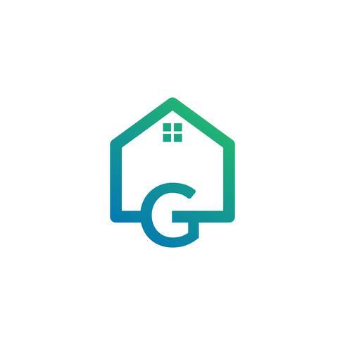 lettre g architecte, maison, modèle de logo créatif de construction