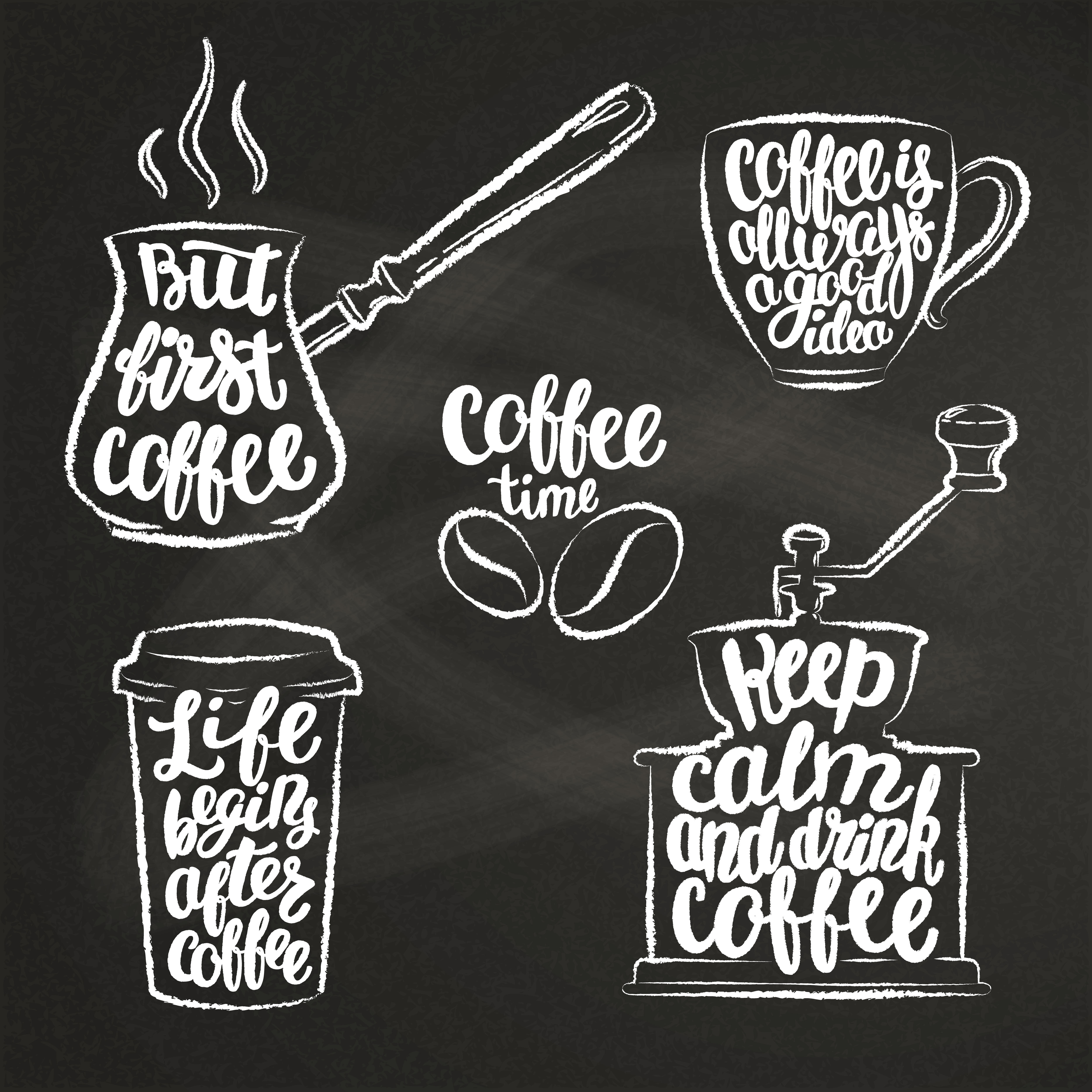 Coffee Chalkboard Elements High-Res Vector Graphic - Getty ...  |Coffee Chalk Art