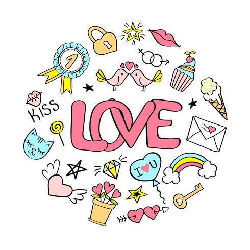 Love  lettering with girly doodles  for valentines day card design, girl's t-shirt print, posters. Hand drawn fancy comic slogan in cartoon style. vector