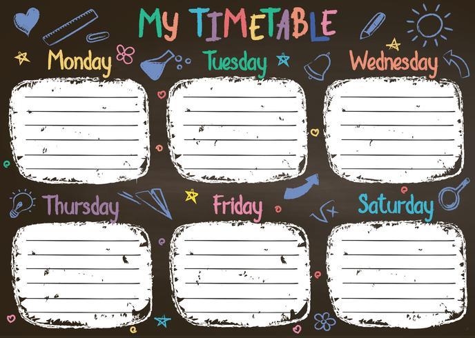 Skoltidtabellmall på kritstavstav med handskriven färgad krittext. Veckans lektioner schemaläggas i sketchy stil dekorerad med handgjorda school doodles på blackboard.