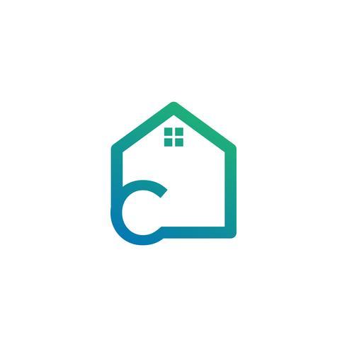 lettre c architecte, maison, modèle de logo créatif de construction