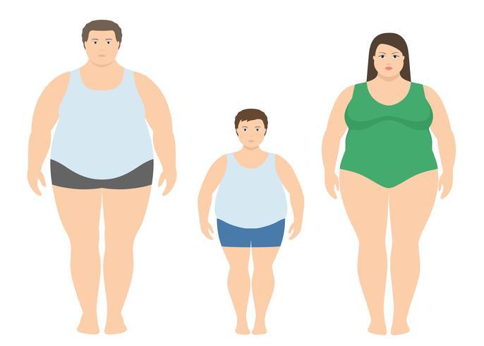 Homem gordo, mulher e criança em estilo simples. Ilustração em vetor família obesa. Conceito de estilo de vida saudável.
