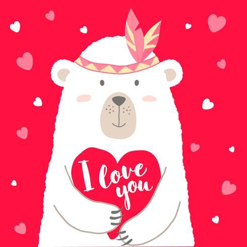 Ejemplo del vector del oso lindo de la historieta que lleva a cabo las letras del corazón y de la mano te amo para la tarjeta de las tarjetas del día de San Valentín, carteles, impresiones de la camiseta, tarjetas de felicitación. Saludo del dia de san va