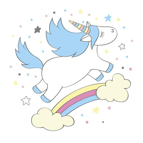 Magic cute unicorn in cartoon style. Doodle unicorn for cards, posters, t-shirt prints, textile design vector
