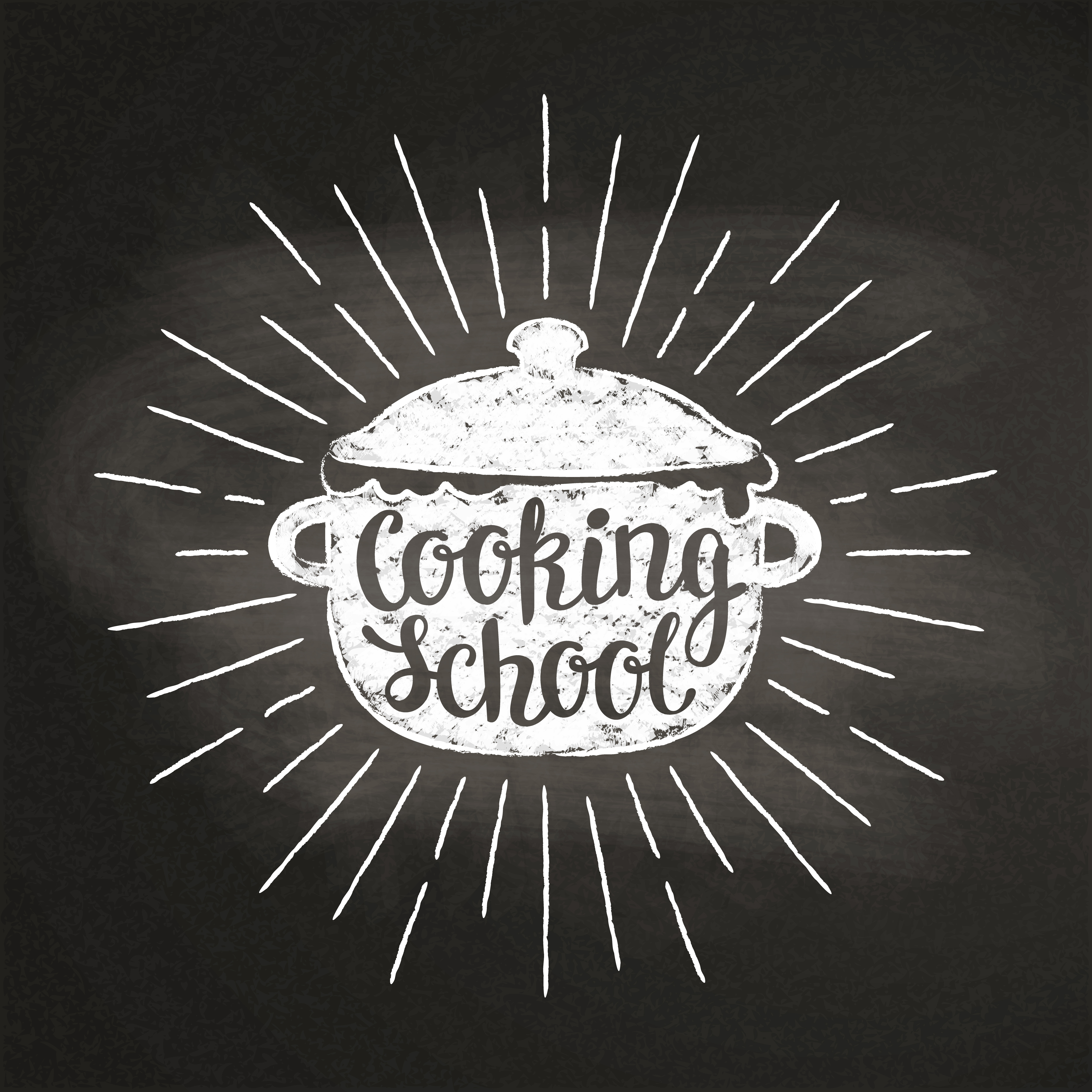 Chalk silhoutte of boiling pan with sun rays and lettering ...
