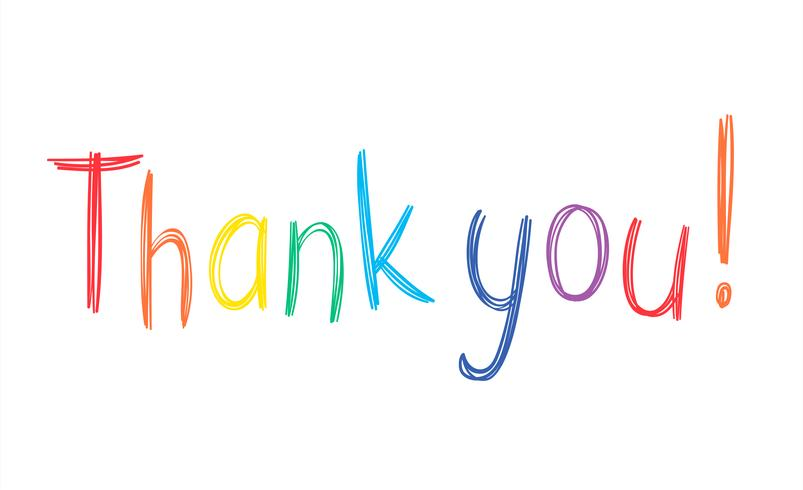 Färgglada penna handskriven Tacka frasen i sketchy stil isolerad på vit bakgrund.