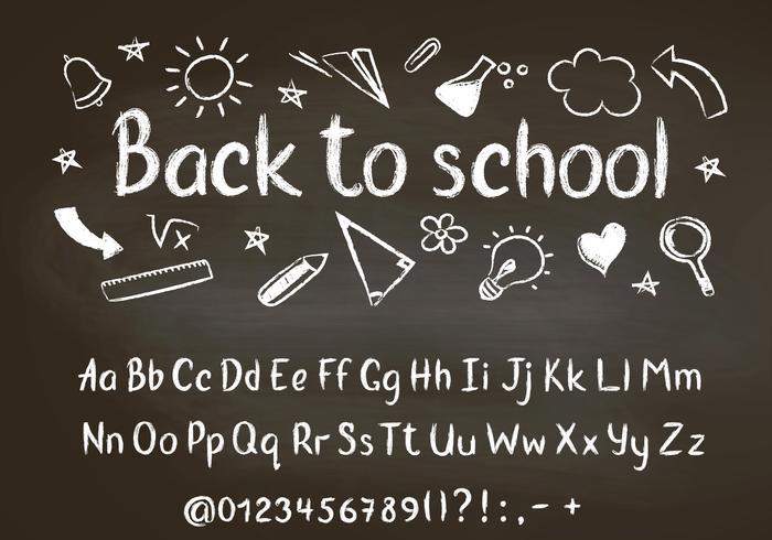 Back to school chalk text on blackboard with school doodle elements and chalk alphabet, numbers and punctuation marks.  vector