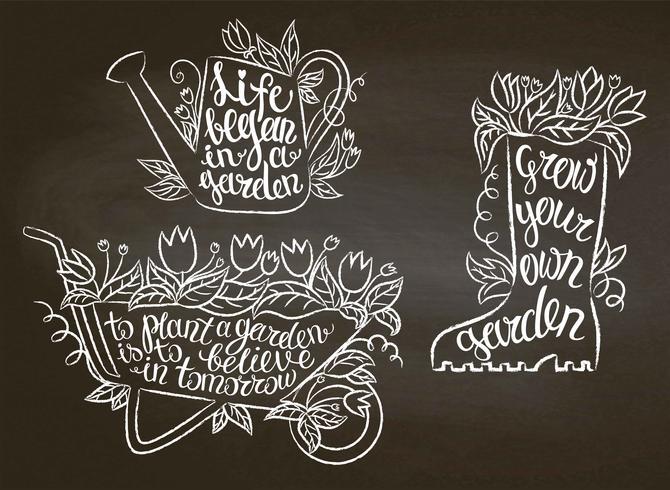 Colección de carteles que cultivan un huerto del contorno de la tiza con citas inspiradas en la pizarra. Conjunto de carteles tipografía jardinería.