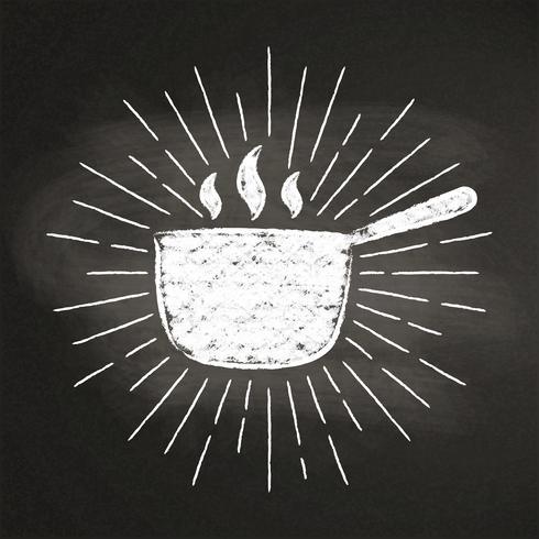 Kreide silhoutte des heißen Topfes mit Weinlesesonne strahlt auf Tafel aus. Gut zum Kochen von Logos, Bades, Menüdesign oder Postern.