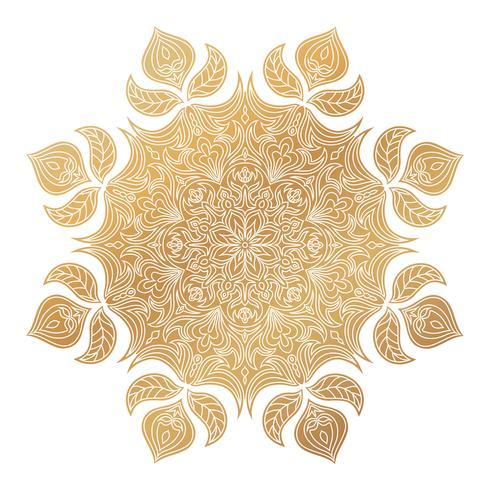 Ornamento de oro de la mandala del vector. Elementos decorativos vintage. Patrón redondo oriental. Islam, árabe, indio, turco, pakistán, chino, motivos otomanos. Dibujado a mano de fondo floral. vector