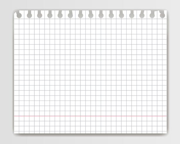 Blank squared copy book sheet with torn edge. Mockup or template of chequered  notepad page for yor text.