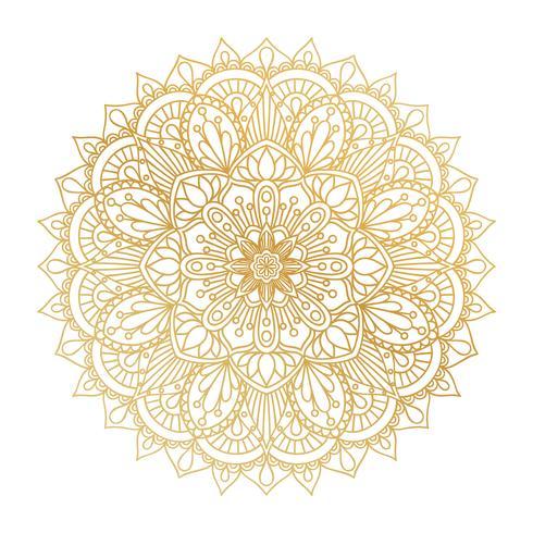 Vector golden contour Mandala ornament. Vintage decorative elements. Oriental round pattern. Islam, Arabic, Indian, turkish, pakistan, chinese, ottoman motifs. Hand drawn floral background.