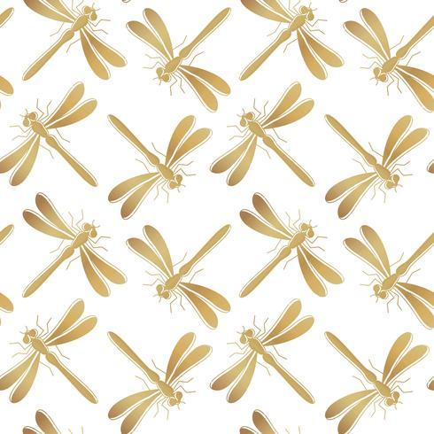 Modello senza cuciture di vettore dorato della libellula per progettazione, carta da parati, carta da imballaggio o scrapbooking del tessuto.