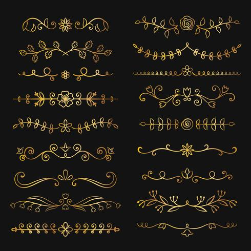Samling av gyllene handritade blomstrande textdelare. Doodle guld botaniska gränser för typografi design, inbjudningar, hälsningskort. Kalligrafiska och blommiga designelement. vektor