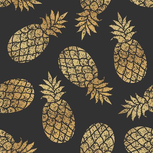 Guld ananas sömlös vektor mönster på svart bakgrund.