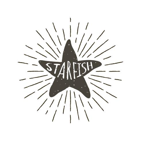 Monocromático mão desenhada rótulo vintage, distintivo retrô com silhueta texturizada de estrela do mar.