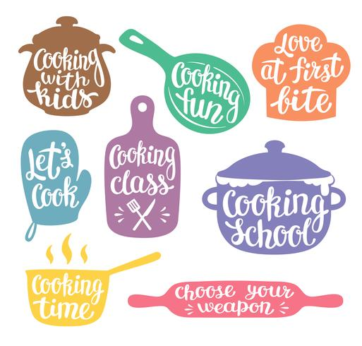 Samling av färgade silhuetter för matlagningslabel eller logotyp. Matlagning vektor illustration med handskriven bokstäver, kalligrafi. Kock, kock, köksredskap ikon eller logotyp.