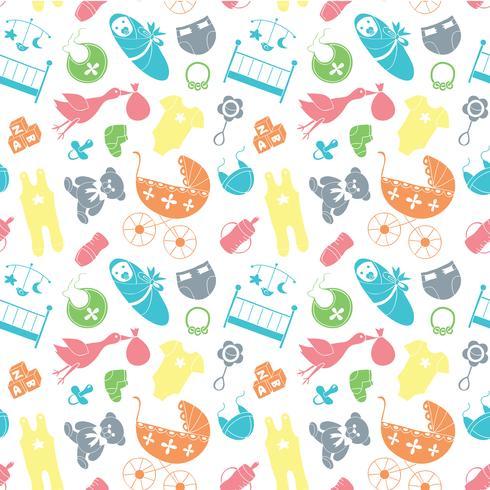 Padrão sem emenda de vetor com elementos de bebê. Roupa recém-nascida e acessórios que repetem o fundo no estilo da garatuja para a matéria têxtil, papel de envolvimento, scrapbooking.