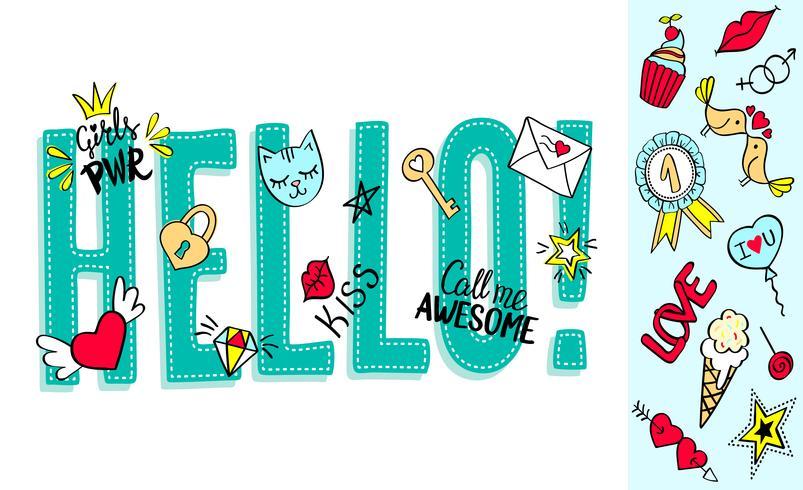 Ciao lettering con scarabocchi girly e frasi disegnate a mano per la progettazione di biglietti di San Valentino, stampa di t-shirt da ragazza. Ciao slogan disegnato a mano