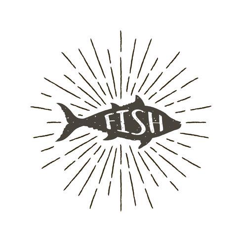 Einfarbige Hand gezeichneter Weinleseaufkleber, Retro- Ausweis mit strukturiertem Schattenbild von Fischen.