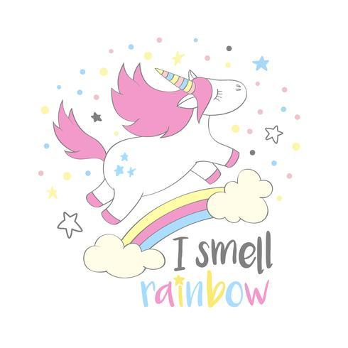 Magisk söt enhörning i tecknadstil med handbokstäver Jag luktar regnbåge. Doodle unicorn flyger över en regnbåge och moln vektor illustration för kort, affischer, barn t-shirt tryck, textil design.