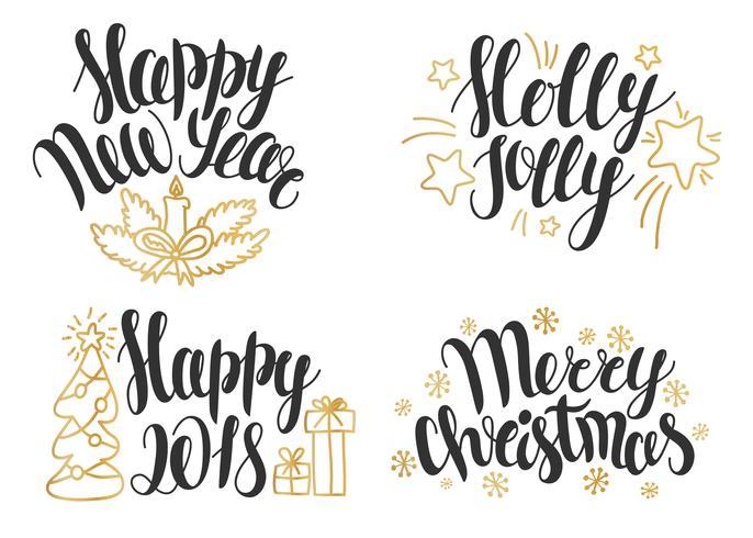 Collezione di lettere di Natale. Frasi disegnate a mano per inviti di Natale e Capodanno e biglietti di auguri.