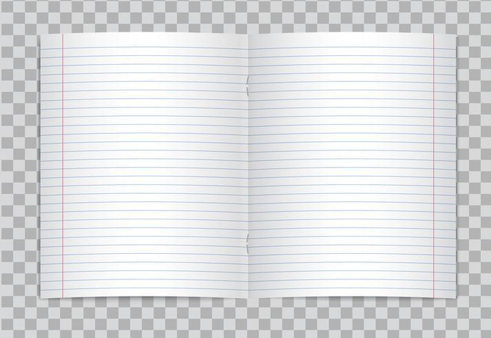 El vector abrió el cuaderno alineado alineado realista de la escuela primaria con los márgenes rojos en fondo transparente. Maqueta o plantilla de páginas abiertas en blanco forrada de cuaderno o cuaderno de ejercicios con grapas.