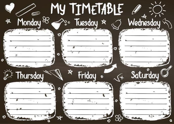 School timetable template on chalk board  with hand written chalk text. Weekly lessons shedule in sketchy style decorated with hand drawn school doodles on blackbord.