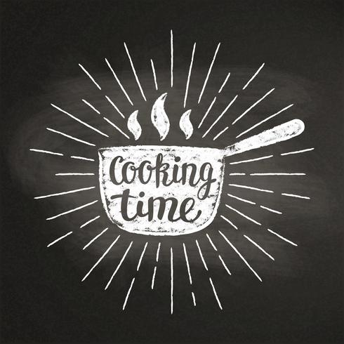 Hot pot chalk silhoutte with sun rays and lettering - Cooking time - on blackboard. Good for cooking logotypes, bades or posters. vector