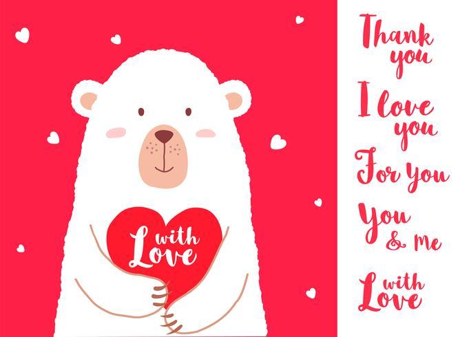 Illustration vectorielle d'ours mignon dessin animé tenant des phrases de coeur et écrit à la main pour des pancartes de carte de Saint Valentin, impressions de t-shirt, cartes de voeux. Carte de Saint Valentin avec différentes variantes de dictons.