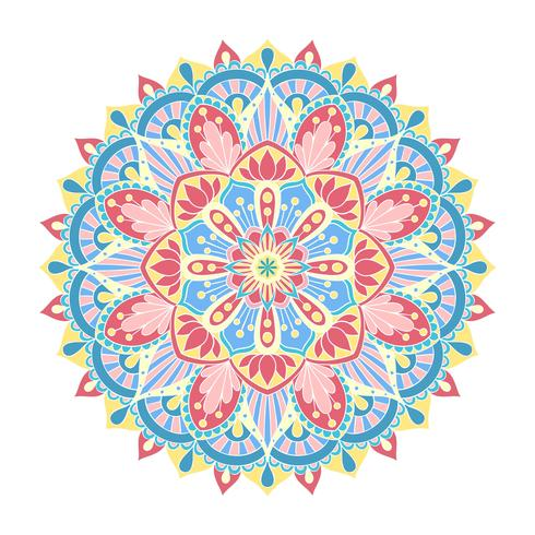 Vector ornamento de la mandala. Elementos decorativos vintage. Patrón redondo oriental. Islam, árabe, indio, turco, pakistán, chino, motivos otomanos. Dibujado a mano de fondo floral.
