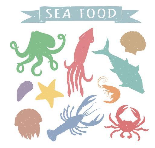 Los mariscos dibujados mano vector colorido ilustraciones aisladas sobre fondo blanco, elementos para diseño de menú de restaurante, decoración, etiqueta. Vintage siluetas de animales marinos.