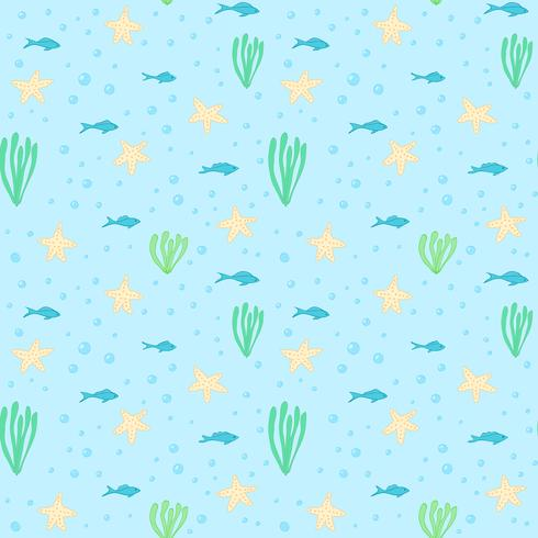 Onderwater naadloos patroon. Naadloos patroon met onderwaterelementen. Naadloos