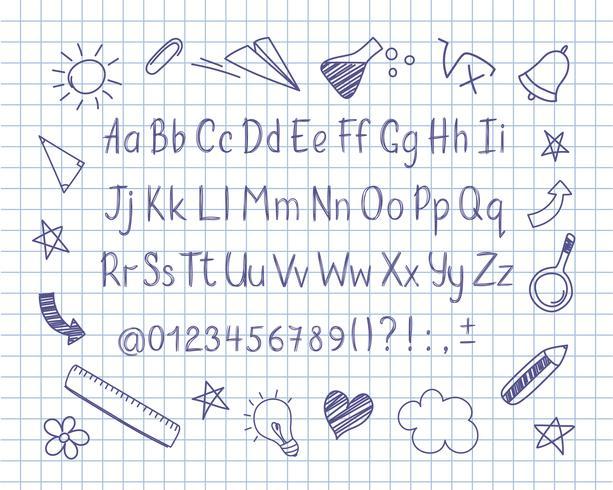 Alphabet en style Sommaire avec l'école doodles sur une feuille de cahier. Lettres de crayon manuscrites de vecteur, des chiffres et des signes de ponctuation. Stylo à encre écriture manuscrite et éléments de conception doodle.
